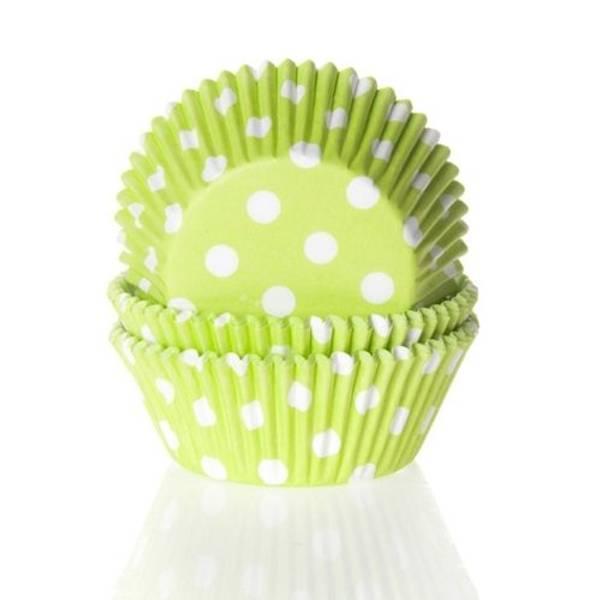 Bilde av Limegrønn Polka Dots, Cupcakeformer, 50stk