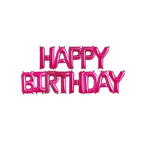 Bilde av Happy Birthday Folie ballong, Mørk rosa