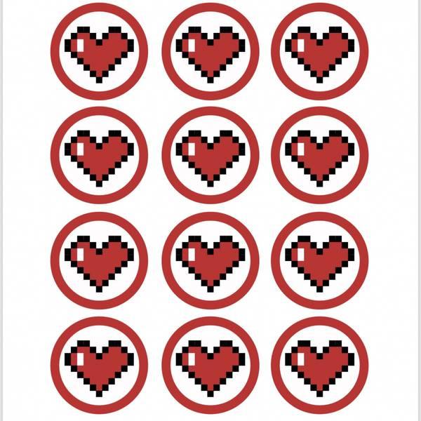 Bilde av Pixel hjerter, Muffinsbilder, 12stk