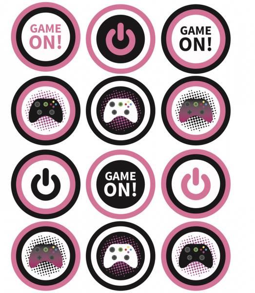 Bilde av Gaming, Muffinsbilder, Rosa,12stk