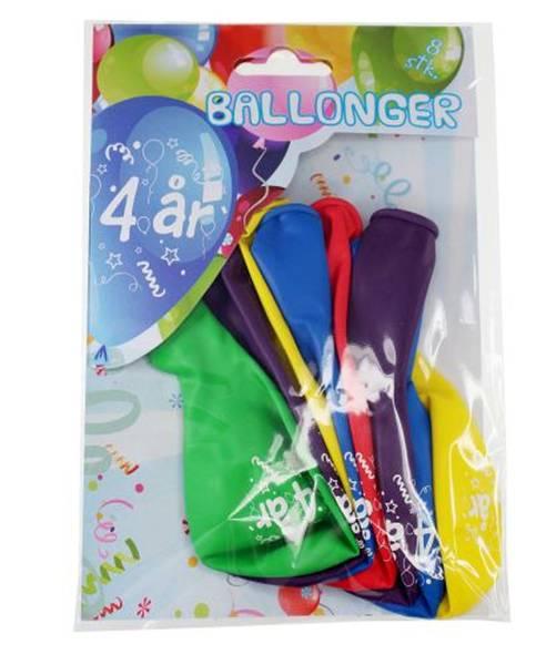 Bilde av Fargerike Ballonger  4år, 8 stk