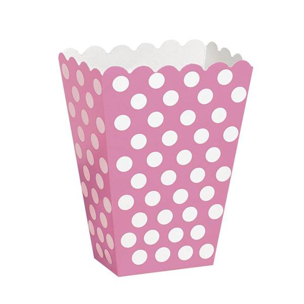 Bilde av Prikkete Rosa Popcorn/Snacks boks, 8 stk