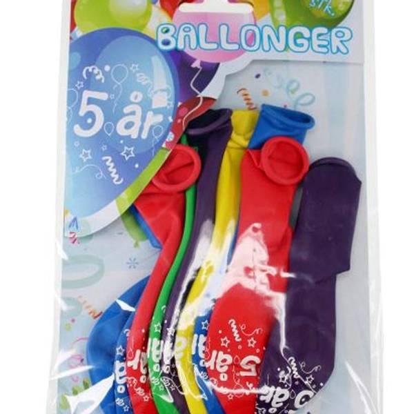 Bilde av Fargerike Ballonger  5 år, 8 stk