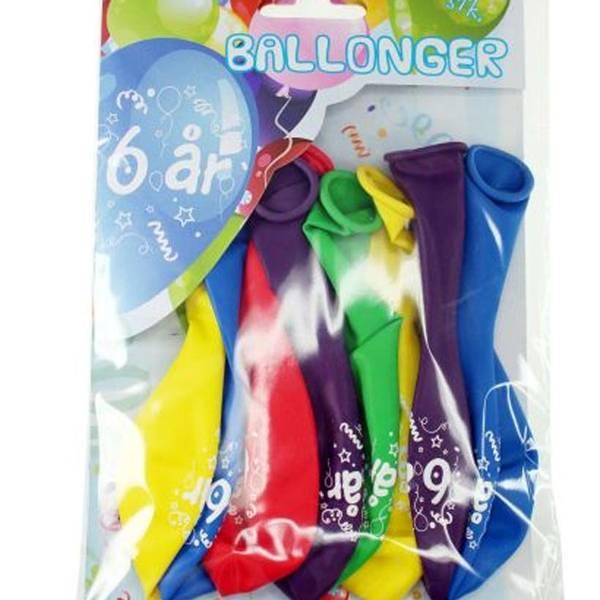 Bilde av Fargerike Ballonger  6 år, 8 stk