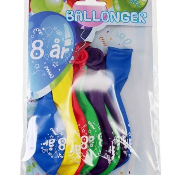 Bilde av Fargerike Ballonger  8 år, 8 stk