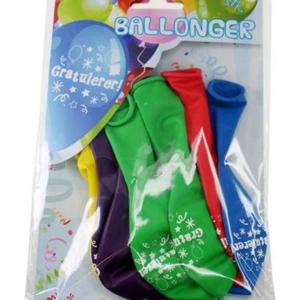 Bilde av Fargerike Ballonger «Gratulerer», 8 stk