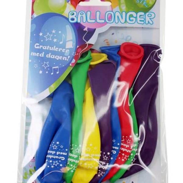 Bilde av Fargerike Ballonger «Gratulerer med dagen» , 8 stk