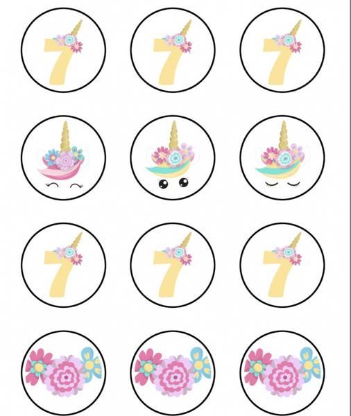 Bilde av Enhjørning, Muffinsbilder, 7 år , 12 stk