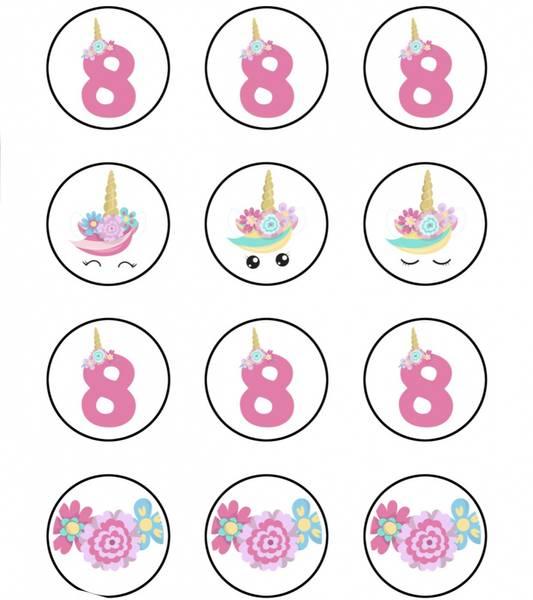 Bilde av Enhjørning, Muffinsbilder, 8 år , 12 stk
