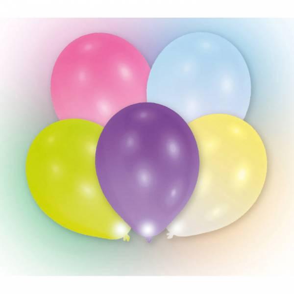 Bilde av LED-Ballonger, assorterte farger, 5 stk