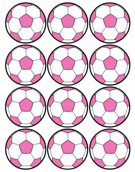 Bilde av Rosa Fotball, Cupcakebilder, 12 stk
