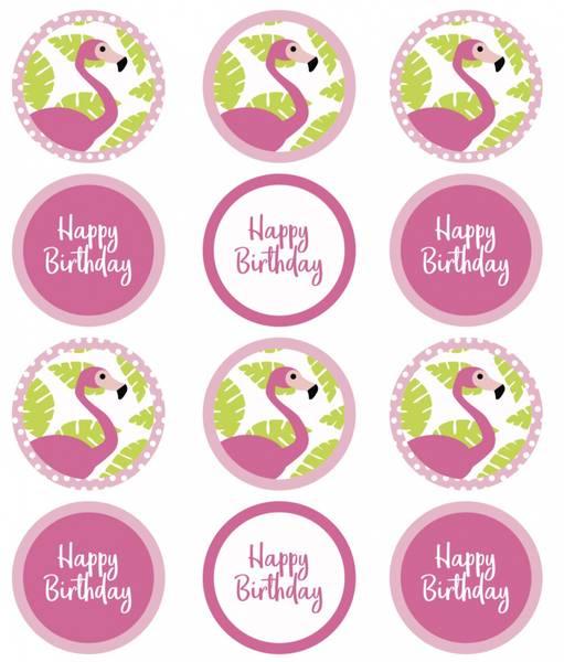 Bilde av Flamingo , Cupcakebilder, 12 stk