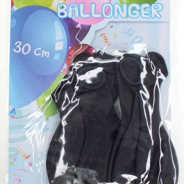 Bilde av Metallic Ballonger Sort, 8 stk