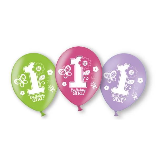 Bilde av Birthday Girl, 1 år! Fargede ballonger, 6stk