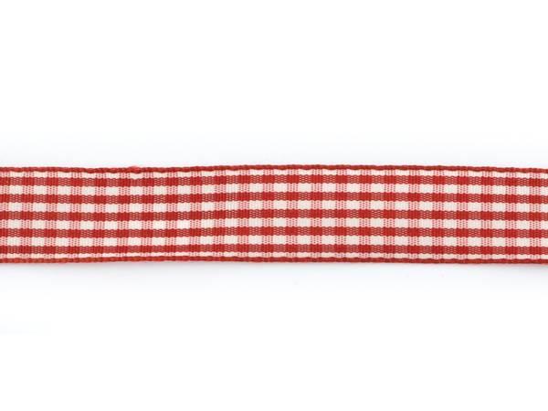 Bilde av Rutete bånd 15mm – 46 Mørk rød – 1meter