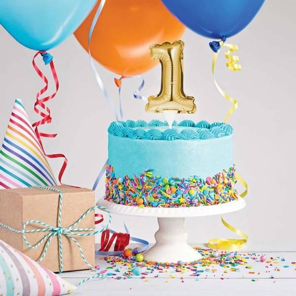 Bilde av Selvoppblåsbare kakeballonger Gull, 0-9