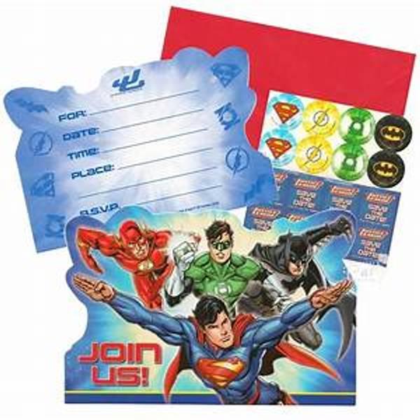 Bilde av Justice League, Invitasjonskort, 8stk