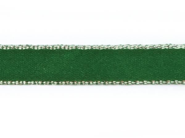 Bilde av Bånd 9,5mm – Grønn med sølvkant, 1 meter