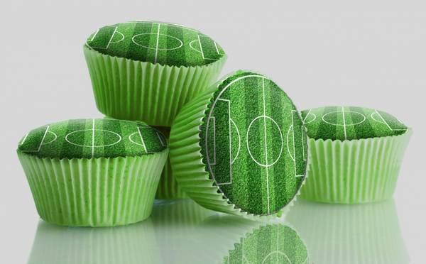 Bilde av Spiselige Fotballbane, Cupcakebilder, 12 stk