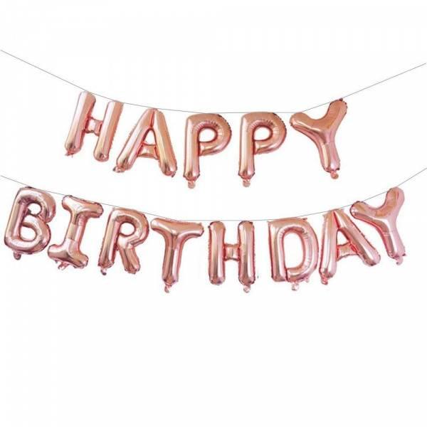 Bilde av Happy Birthday Folieballong Rosegull