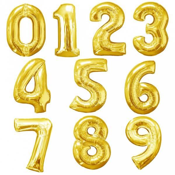 Bilde av Gullfargede Tallballonger 36 cm