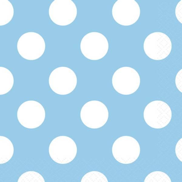Bilde av Lyseblå servietter med Polka dots, 16 stk