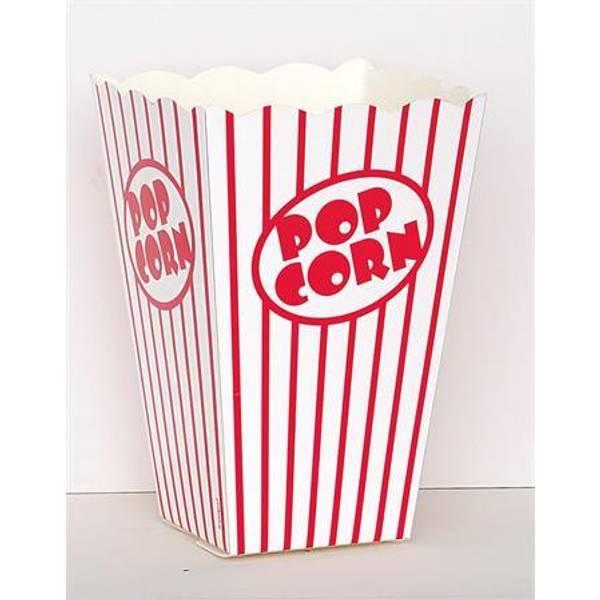 Bilde av Rød Stripete Popcorn/Snacks boks, 10 stk