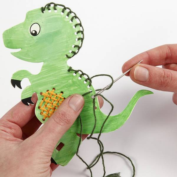Bilde av Mini kreativ sett, broderifigur - dinosaur, 1sett