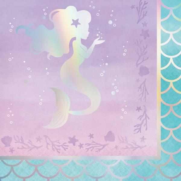 Bilde av Skinnende Havfrue, Servietter, 16 stk