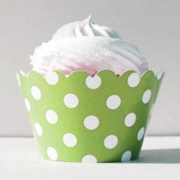 Bilde av Cupcake Wrappers grønn med prikker 12 stk