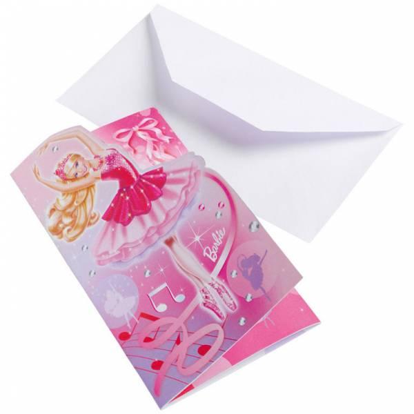 Bilde av Barbie ballerina, Invitasjoner 6 stk