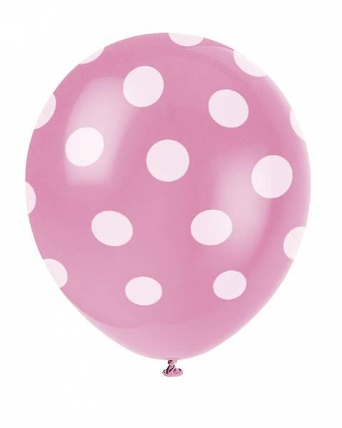 Bilde av Rosa Ballonger med Hvite Polka Dots, 30cm