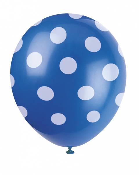 Bilde av Blå Ballonger med Hvite Polka Dots, 30cm