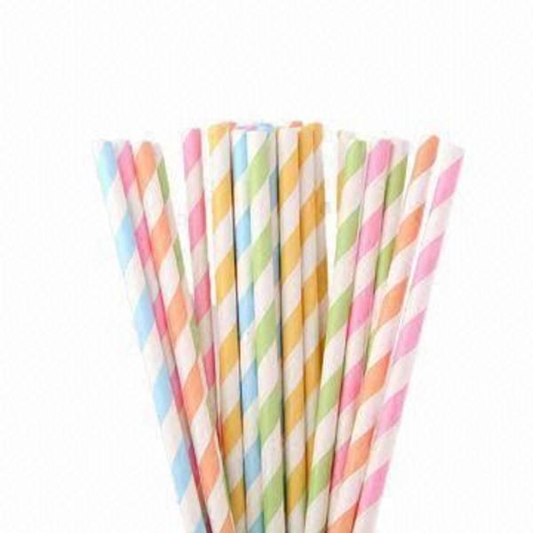 Bilde av Pastell Stripete Sugerør, 12 stk