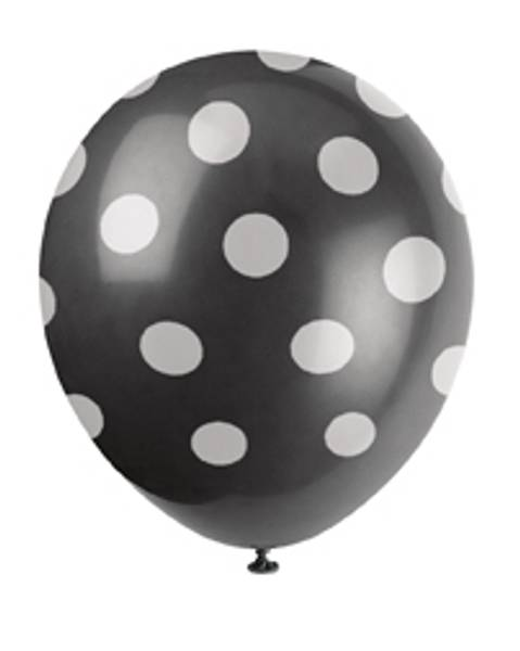 Bilde av Svarte Ballonger med Hvite Polka Dots, 30cm
