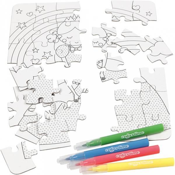 Bilde av Mini kreative sett, pusslespill - prinsesse, hvit, 1sett