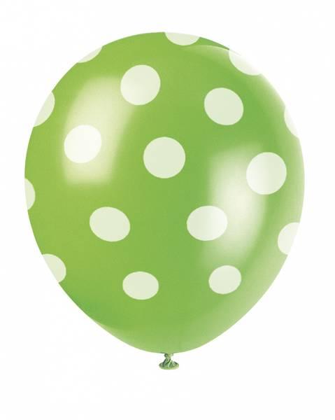 Bilde av Grønne Ballonger med Hvite Polka Dots, 30cm