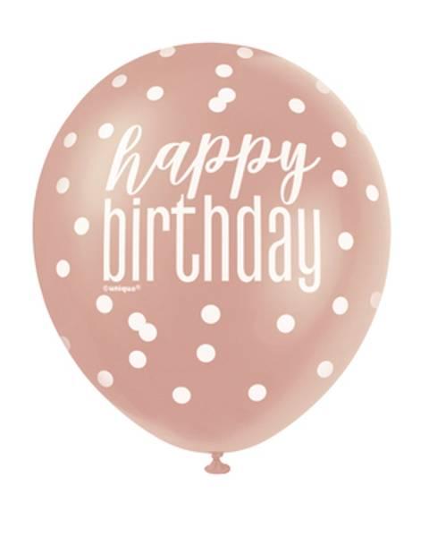 Bilde av Happy Birthday Ballonger, Rosegull, 6stk