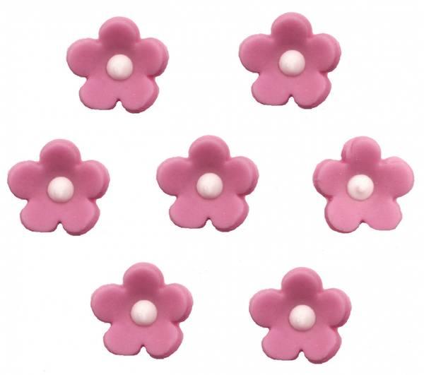 Bilde av Sukkerpynt, Rosa Glitrende Blomster, 7 stk