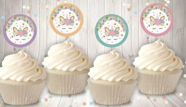 Bilde av Enhjørning Cupcaketoppers, 8 stk