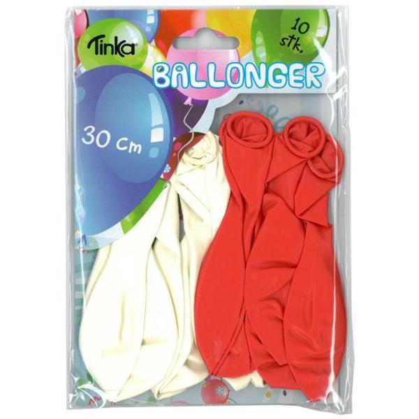 Bilde av Røde og hvite Ballonger, 10 stk