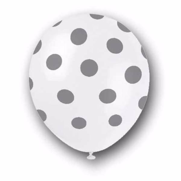 Bilde av Prikkete Sølv Ballonger 30cm