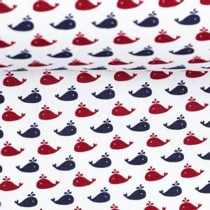 Bilde av print - bomull små! valer blå og rød på rent hvit