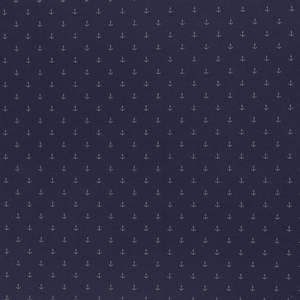 Bilde av print - bomull lys anker på marineblå