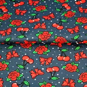 Bilde av Rockabilly Kirsebær på blå - jersey