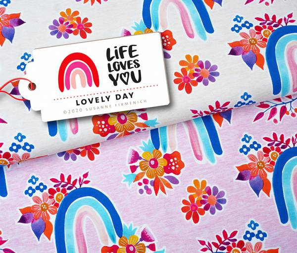 LIFE LOVES YOU regnbue - offwhite økol. jersey