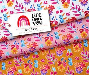 Bilde av LIFE LOVES YOU blomst - rosa økol. jersey