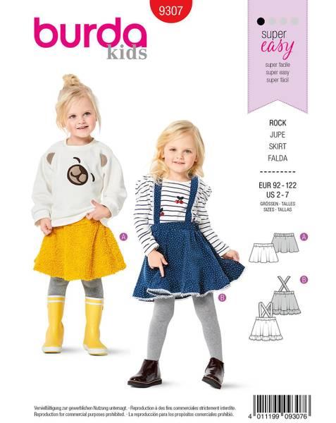 Bilde av Burda Mønster   9307 Children's Skirts, Fla129, Pull-On, with Tr