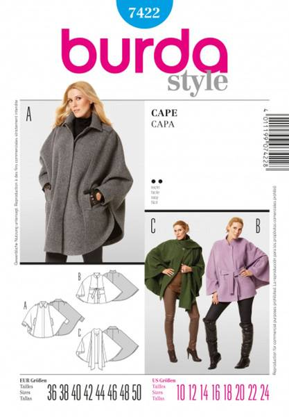 Bilde av Burda Mønster B7422 Cape Sewing