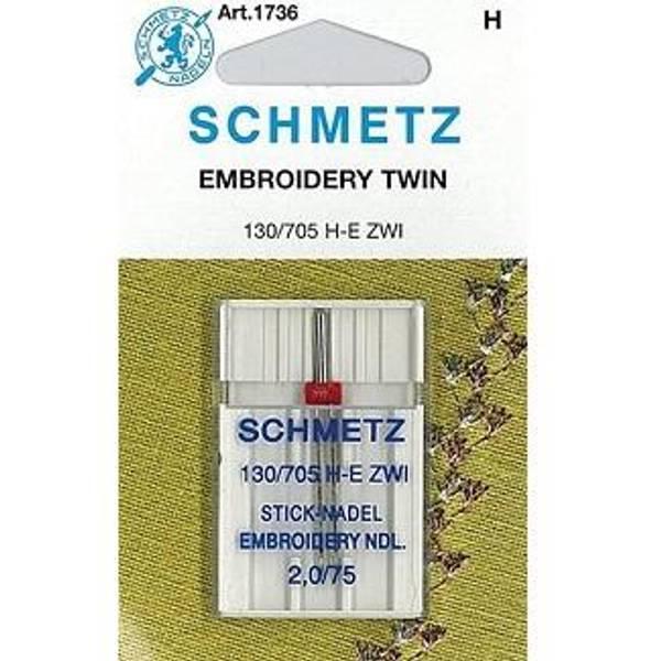 Bilde av (23F36) Nåler Tvillingnål 75 2,0mm H-E ZWI broderi 130/705